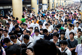Crowded train station in Asia